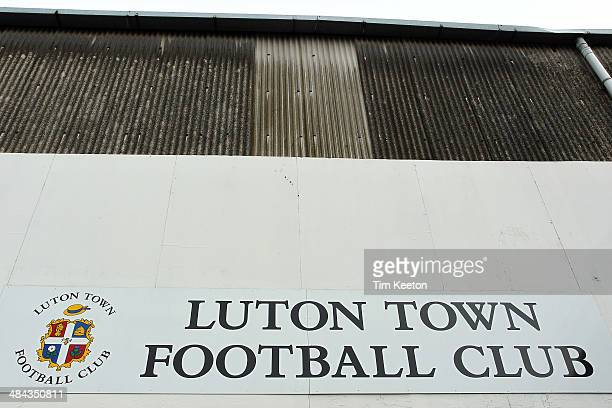 The main stand during the Skrill Conference Premier match between Luton Town and Braintree Town at Kenilworth Road on April 12 2014 in Luton England