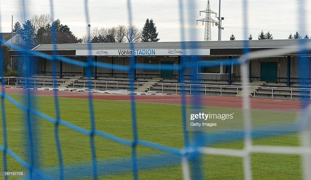 The main stand of the 'Voehlin-Stadion' photographed through the mesh of a goal during the Regionalliga Bayern match between FV Illertissen and SV Seligenporten at Voehlin-Stadion on November 24, 2012 in Illertissen, Germany.