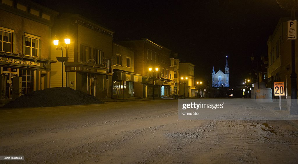 The main street of Rue Frontenac in LacMegantic becomes a ghost town after most of the construction workers leave the restricted entry red zone St...