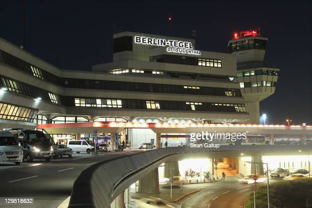 The main terminal and control tower stand illuminated at Tegel Airport on October 17 2011 in Berlin Germany Tegel which first went into operation in...