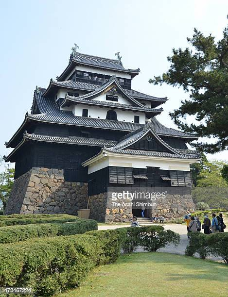 The main tower of Matsue Castle is seen on April 25 2015 in Matsue Shimane Japan