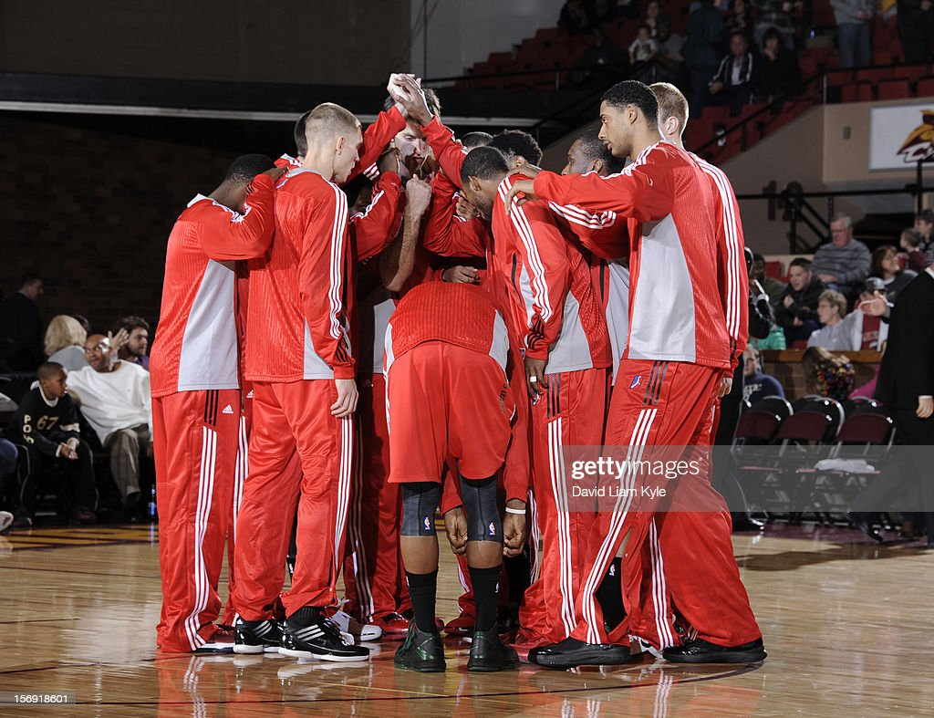 The Maine Red Claws huddle together prior to the game against the Canton Charge at the Canton Memorial Civic Center on November 23, 2012 in Canton, Ohio.