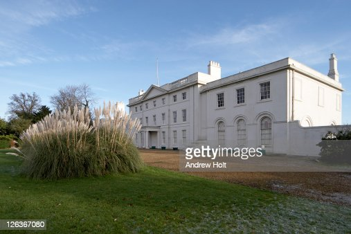 The majestic Georgian front facade of Blake Hall near Moreton in Essex.