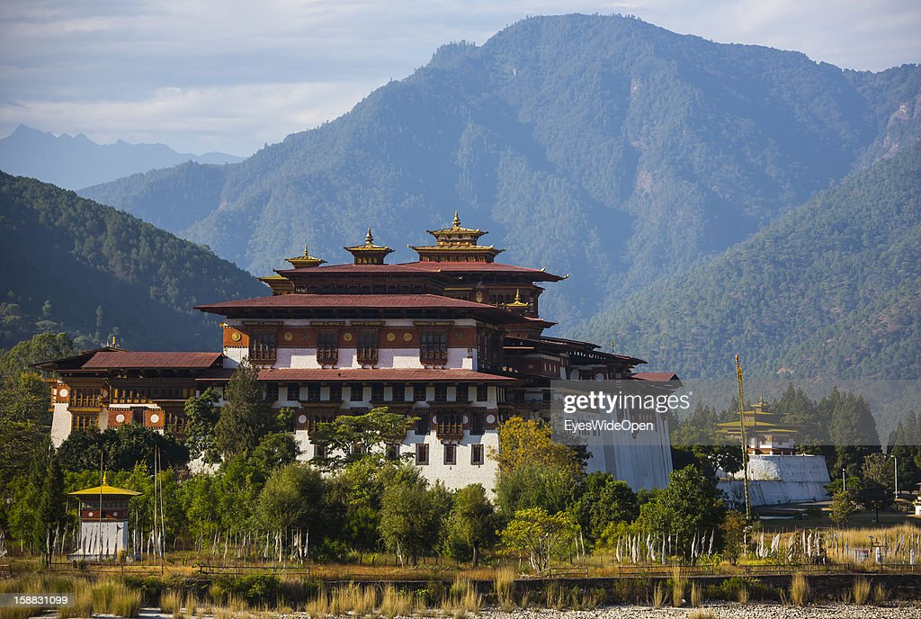 The Majestic Monastery-fortress, the Palace of Great Happiness in Punakha, the country's old capital, which is about two hours away from Thimphu on November 18, 2012 in Punakha, Bhutan. The Punakha Dzong, is the administrative centre of Punakha dzongkhag. Constructed by Zhabdrung (Shabdrung) Ngawang Namgyal in 1637-38