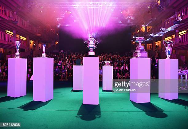 The Major Championship trophies on display at the Rolex Annika Major Awards after the third round of The Evian Championship on September 17 2016 in...