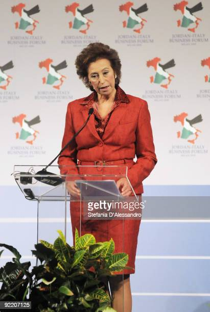 The Major of Milan Letizia Moratti attends the JordanItaly Business Forum on October 22 2009 in Milan Queen Rania and King Abdullah II are on...