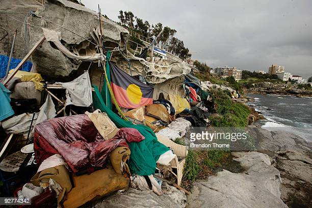 The makeshift home of homeless man Peter James Paul Millhouse also known as Jim Mhiyles or Jimmy Two Hats is seen following his arrest on rape...