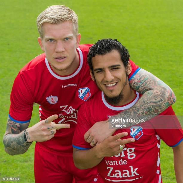 the making of the teamphoto Simon Makienok Yassin Ayoub during the team presentation of FC Utrecht on July 22 2017 at Sportcomplex Zoudenbalch in...