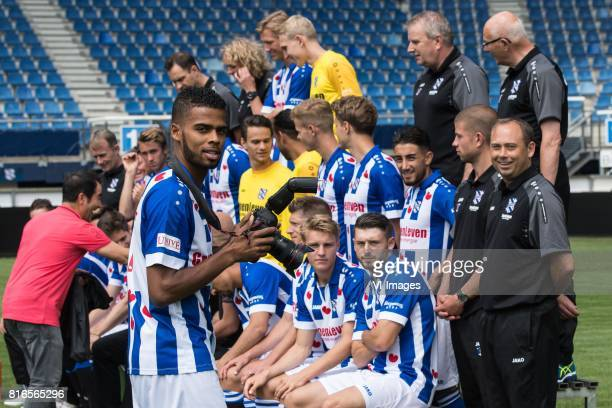 the making of the teamphoto with Jeremiah St Juste during the team presentation of sc Heerenveen on July 17 2017 at Abe Lenstra Stadium in Heerenveen...