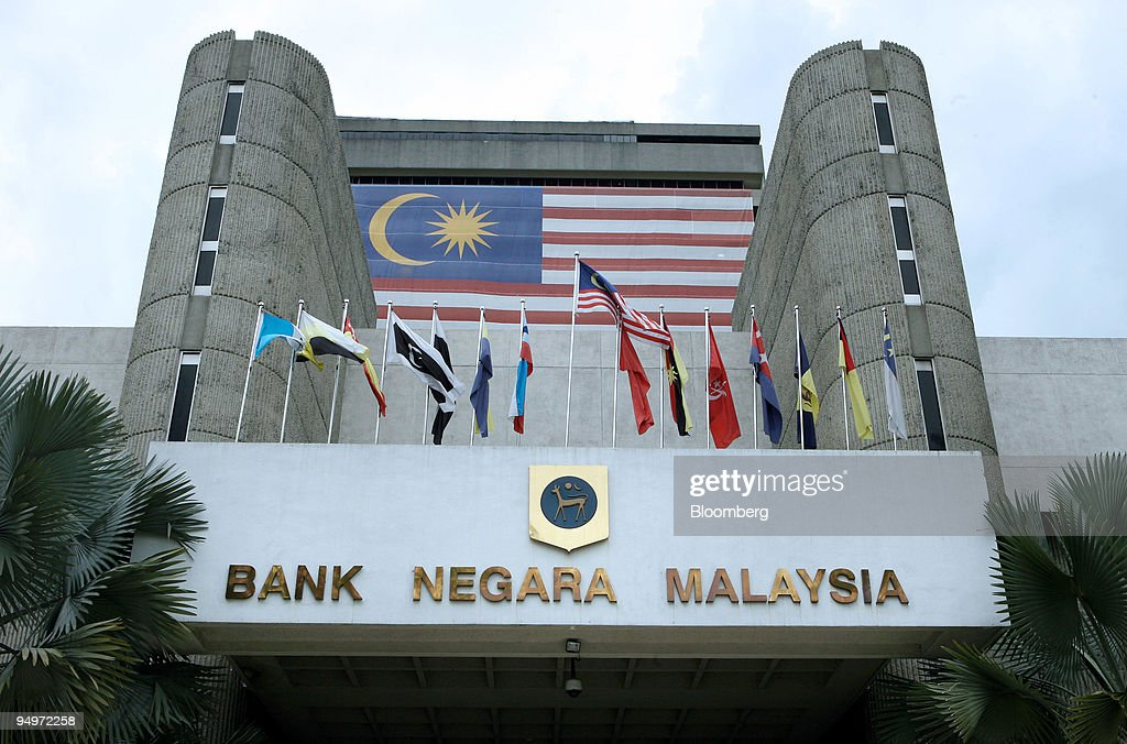 The Malaysian flag is displayed on the facade of Bank Negara Malaysia for the upcoming national day in Kuala Lumpur Malaysia on Wednesday Aug 26 2009...