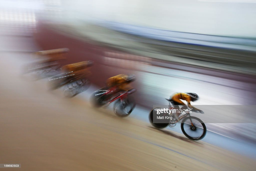 The Malaysian team competes in the Men's U19 Team Pursuit Qualifications during day two of the 2013 Australian Youth Olympic Festival at Dunc Gray Velodrome on January 17, 2013 in Sydney, Australia.