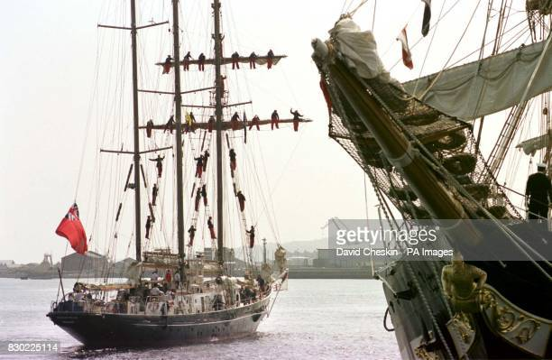 The Malcolm Miller built in Aberdeen arrives in Greenock with its crew on display as the Cutty Sark Tall Ships race comes to Scotland