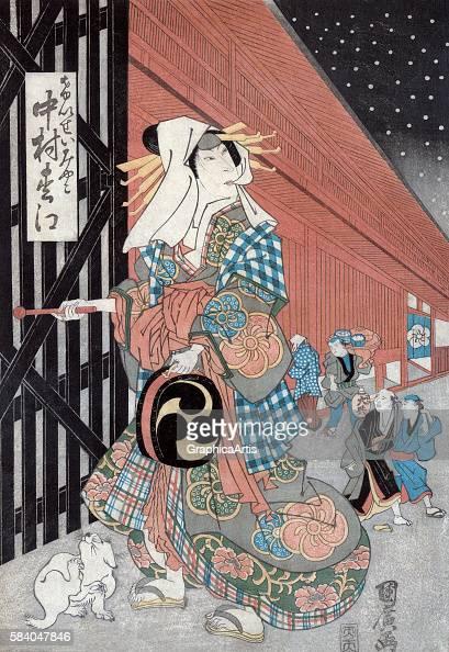 The male actor Nakamura Matsue in the role of the Courtesan Miyako attributed to Ganryosai Kunihiro 181830 Japanese title is 'Nakamaru matsue no...