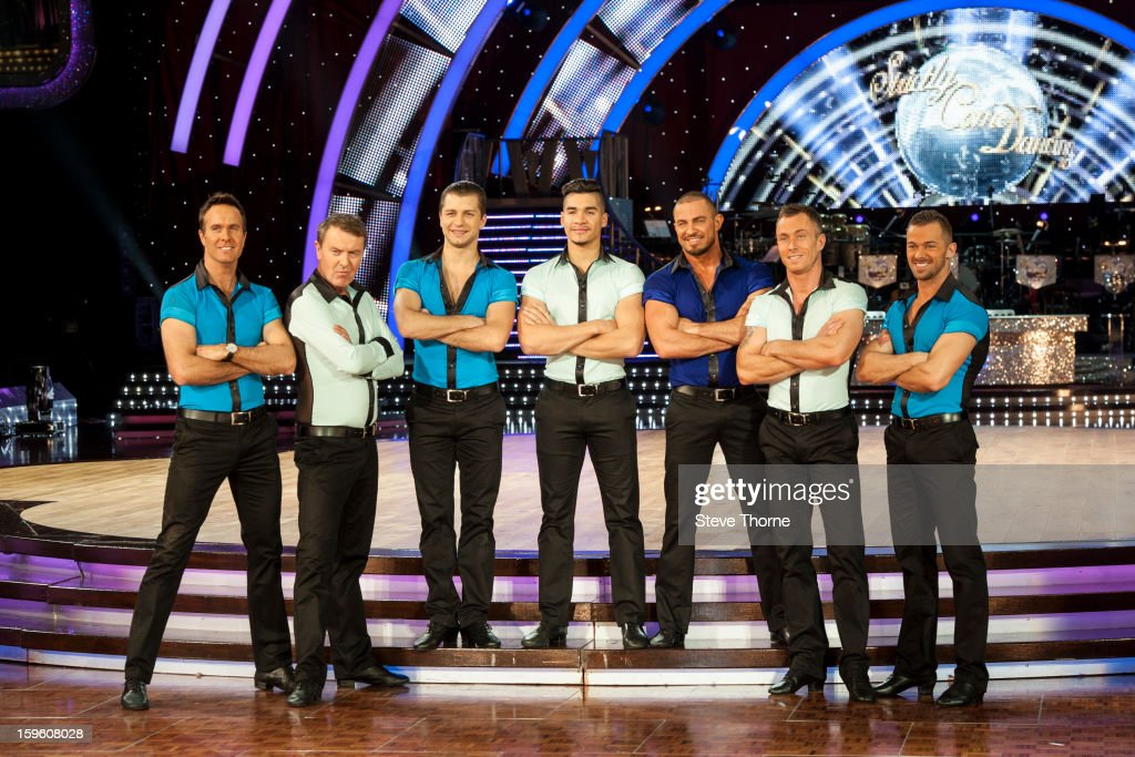 The male dancers attend a photocall ahead of the Strictly Come Dancing Live Tour at NIA Arena on January 17, 2013 in Birmingham, England.