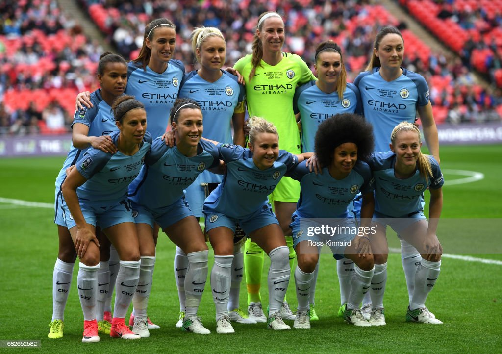 The Man City Ladies team pose for a photograph prior tothe SSE Women's FA Cup Final between Birmingham City Ladies and Manchester City Women at Wembley Stadium on May 13, 2017 in London, England.