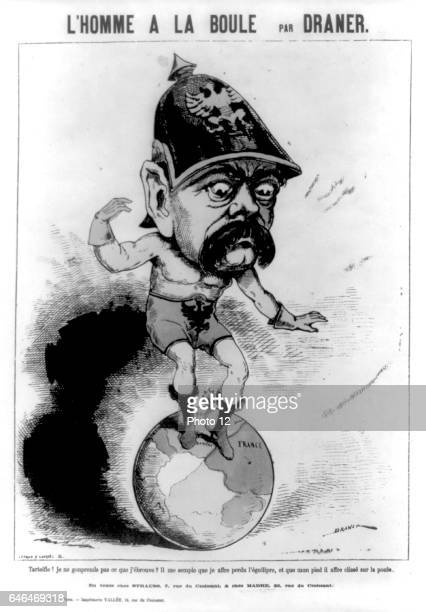 Cartoon of Otto von Bismarck Prussian statesman having difficulty balancing on the world his left foot is on France French cartoon published during...