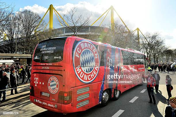 The MAN team bus of Bayern Muenchen arrives prior to the Bundesliga match between Borussia Dortmund and FC Bayern Muenchen at Signal Iduna Park on...