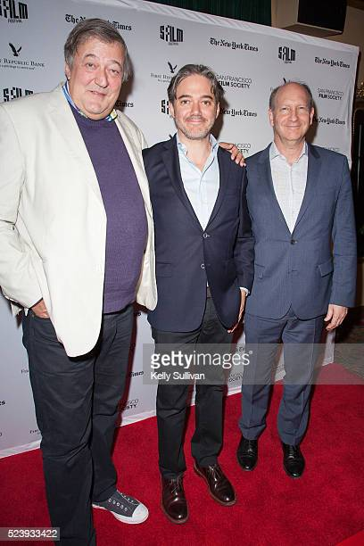 'The Man Who Knew Infinity' actor Stephen Fry director Matthew Brown and Alfred P Sloan Foundation Vice President Doron Weber arrive on the red...