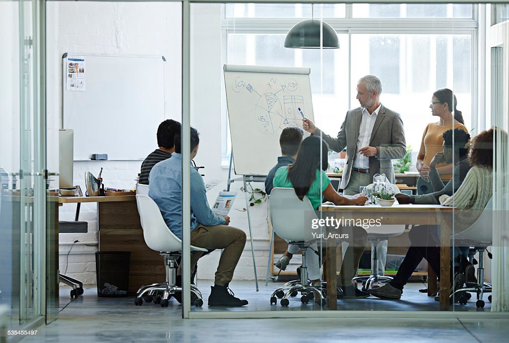 The manager has the floor : Stock Photo