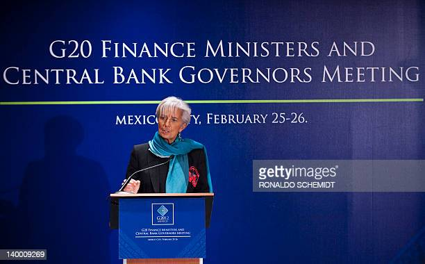 The Managing Director of the International Monetary Fund Christine Lagarde speaks during a press conference in the G20 Finance Ministers and Central...