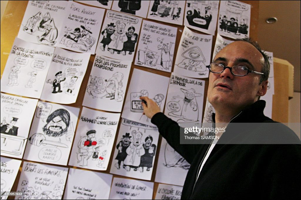The managing editor Philippe Val at the choice of the weekly in Paris, France on February 5th, 2007