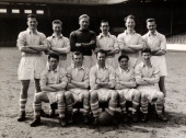 The Manchester City FA Cup Final squad at Maine Road Manchester on 15th April 1955 Back row left to right Jimmy Meadows Royal Little Bert Trautmann...