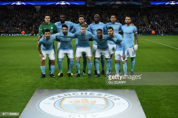 The Manchester City starting XI Manchester City's Brazilian goalkeeper Ederson Manchester City's Ivorian midfielder Yaya Toure Manchester City's...