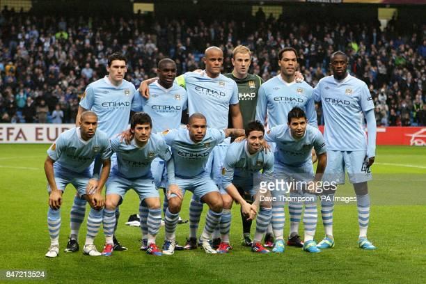 The Manchester City team line up for a photograph before kickoff Gareth Barry Micah Richards Vincent Kompany goalkeeper Joe Hart Joleon Lescott and...