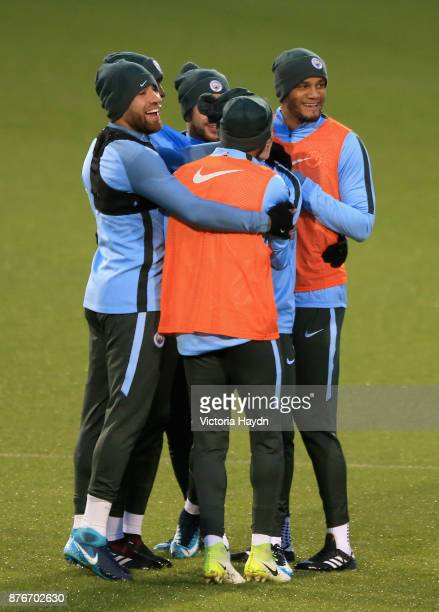 The Manchester City team train during Manchester City Training ahead of the Champions League group F match between Manchester City and Feyenoord at...
