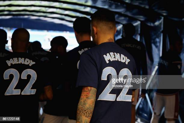 The Manchester City team walk out with Benjamin Mendy shirts prior to the Premier League match between Manchester City and Stoke City at Etihad...