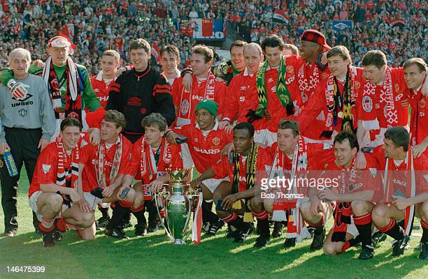 The Manchester United football team with the Premier League Trophy after playing Coventry at Old Trafford Manchester 8th May 1994 The match was a 00...