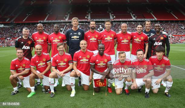 The Manchester United Legends team lines up ahead of the MU Foundation charity match between Manchester United Legends and Barcelona Legends at Old...