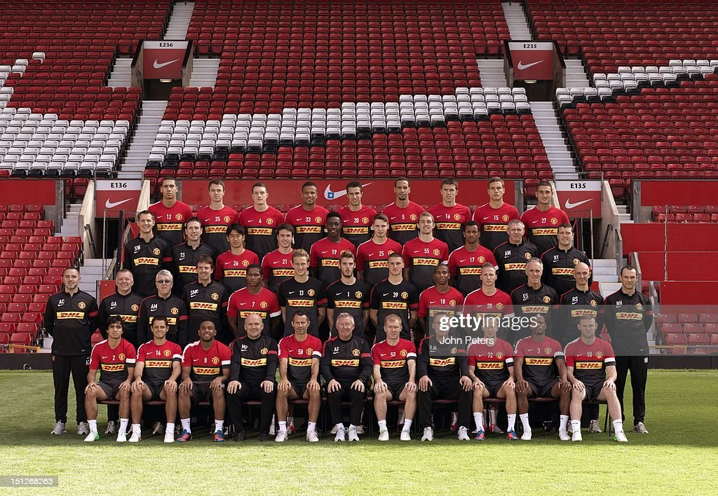 The Manchester United squad (Back Row L-R:) Chris Smalling, Jonny Evans, Phil Jones, Bebe, Robin van Persie, Rio Ferdinand, Michael Carrick, Nemanja Vidic, Federico Macheda. (Third Row L-R:) Sports Scientist Simon Wells, Head of Fitness Tony Strudwick, Shinji Kagawa, Angelo Henriquez, Danny Welbeck, Nick Powell, Darren Fletcher, Nani, Assistant Kit Manager Alec Wylie, Masseur Rod Thornley. (Second Row L-R:) Masseur Andy Caveney, Masseur Gary Armer, Kit Manager Albert Morgan, Doctor Steve McNally, Antonio Valencia, Anders Lindegaard, David de Gea, Sam Johnstone, Ashley Young, Alexander Buttner, Goalkeeping Coach Eric Steele, Physio Rob Swire, Physio Neil Hough. (Front Row L-R:) Rafael Da Silva, Javier 'Chicharito' Hernandez, Anderson, Assistant Manager Mike Phelan, Ryan Giggs, Manager Sir Alex Ferguson, Paul Scholes, First Team Coach Rene Meulensteen, Tom Cleverley, Patrice Evra, Wayne Rooney pose at the annual club photocall at Old Trafford on August 31, 2012 in Manchester, England.