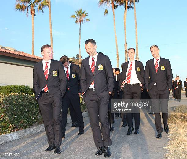The Manchester United squad enjoy a walk at the start of their preseason tour of the United States at LAX Airport on July 18 2014 in Los Angeles...