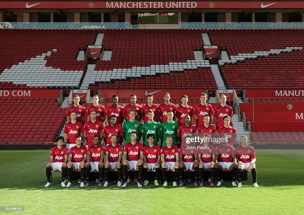 The Manchester United squad (Back Row L-R:) Federico Macheda, Phil Jones, <a gi-track='captionPersonalityLinkClicked' href=/galleries/search?phrase=Danny+Welbeck&family=editorial&specificpeople=4223930 ng-click='$event.stopPropagation()'>Danny Welbeck</a>, Bebe, Robin van Persie, <a gi-track='captionPersonalityLinkClicked' href=/galleries/search?phrase=Rio+Ferdinand&family=editorial&specificpeople=157538 ng-click='$event.stopPropagation()'>Rio Ferdinand</a>, Nick Powell, Michael Carrick, Darren Fletcher (Middle Row L-R:) Jonny Evans, Chris Smalling, Antonio Valencia, Anders Lindegaard, David de Gea, Sam Johnstone, Ashley Young, Alexander Buttner, Angelo Henriquez. (Front Row L-R:) Rafael Da Silva, Javier 'Chicharito' Hernandez, Anderson, Ryan Giggs, <a gi-track='captionPersonalityLinkClicked' href=/galleries/search?phrase=Nemanja+Vidic&family=editorial&specificpeople=497253 ng-click='$event.stopPropagation()'>Nemanja Vidic</a>, Shini Kagawa, Paul Scholes, Nani, Tom Cleverley, Patrice Evra, <a gi-track='captionPersonalityLinkClicked' href=/galleries/search?phrase=Wayne+Rooney&family=editorial&specificpeople=157598 ng-click='$event.stopPropagation()'>Wayne Rooney</a> pose at the annual club photocall at Old Trafford on August 31, 2012 in Manchester, England.