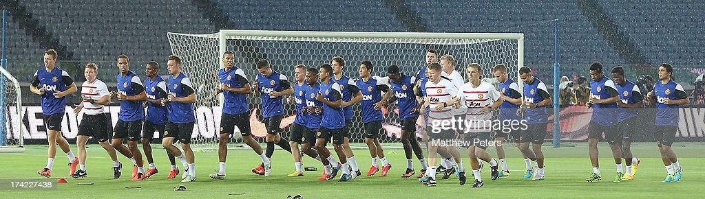 The Manchester United squad in action during a first team training session as part of their pre-season tour of Bangkok, Australia, China, Japan and Hong Kong on July 22, 2013 in Yokohama, Japan.