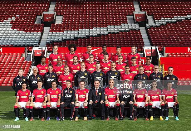 The Manchester United squad pose at the annual club photocall at Old Trafford on September 16 2014 in Manchester England