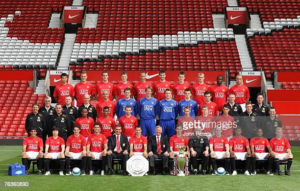 The Manchester United squad pose during the club's official annual photoshoot at Old Trafford on August 26 2007 in Manchester England Back row Dong...