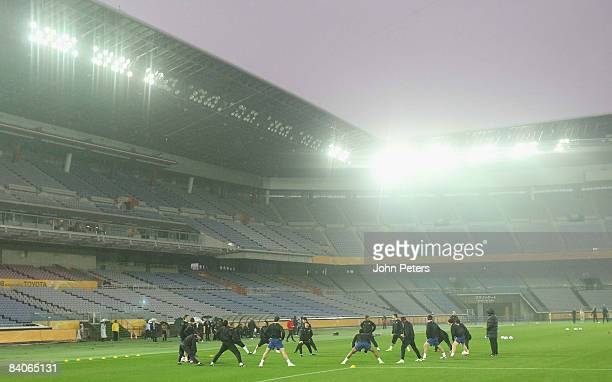 The Manchester United squad takes part in a First Team Training Session ahead of the World Club Cup at Yokohama International Stadium on December 17...