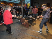 The Manchester United squad visit the Dale Chihuly Glassblowing factory where a glass replica of the Premier League trophy is being blown as part of...