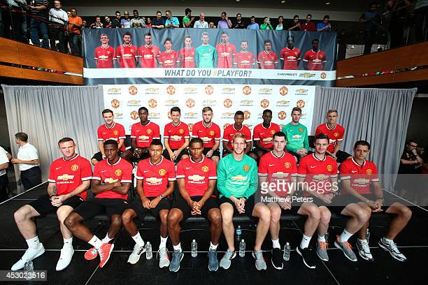 The Manchester United squad visits the headquarters of General Motors on August 1 2014 in Detroit Michigan