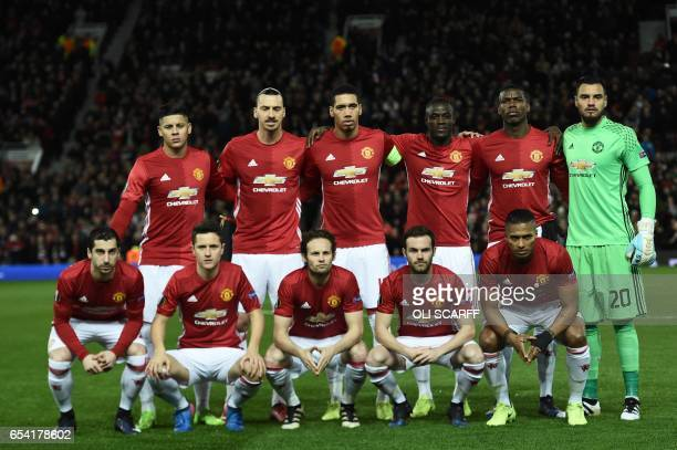 The Manchester United starting XI Manchester United's Argentinian defender Marcos Rojo Manchester United's Swedish striker Zlatan Ibrahimovic...