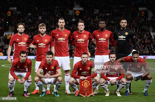 The Manchester United starting XI Manchester United's Dutch midfielder Daley Blind Manchester United's English defender Luke Shaw Manchester United's...