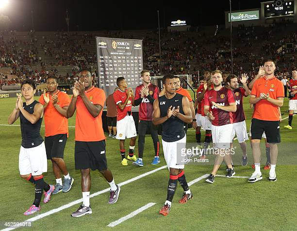 The Manchester United team applaud the fans after the preseason friendly match between LA Galaxy and Manchester United at Rose Bowl on July 23 2014...