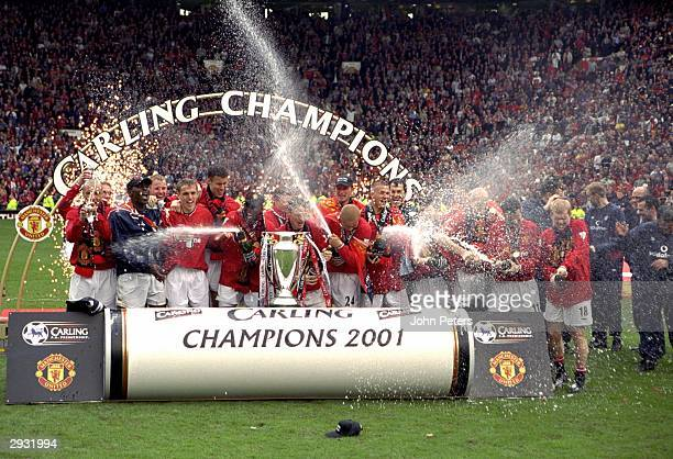 The Manchester United team celebrate after the FA Premiership match between Manchester United v Derby County at Old Trafford on May 5 2001 in...