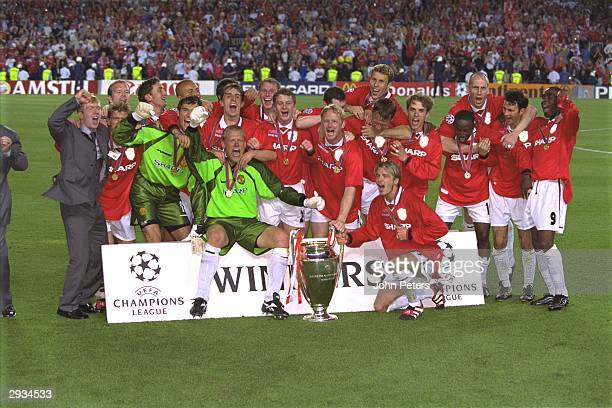 The Manchester United team celebrate after winning the European Cup in the UEFA Champions League Final match between Bayern Munich v Manchester...