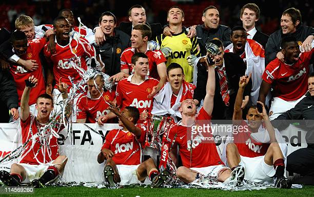 The Manchester United Team celebrate victory in the FA Youth Cup Final 2nd Leg match between Manchester United and Sheffield United at Old Trafford...