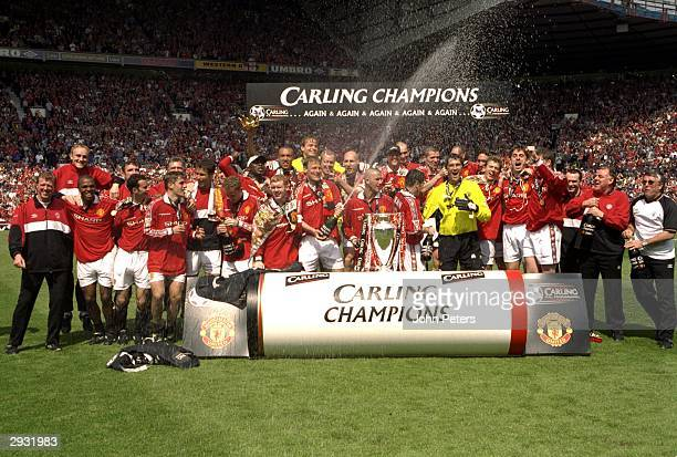 The Manchester United team celebrate winning the Championship after the FA Premiership match between Manchester United v Tottenham Hotspur at Old...