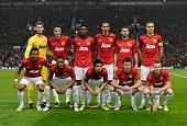 The Manchester United team group lr back row David de Gea Robin van Persie Danny Welbeck Rio Ferdinand Ryan Giggs Nemenja Vidic Front row Nani...