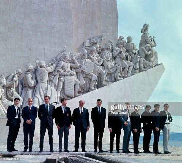 The Manchester United team in front of the Discoveries Monument which commemorates the exploits of Portuguese explorers such as Prince Henry the...